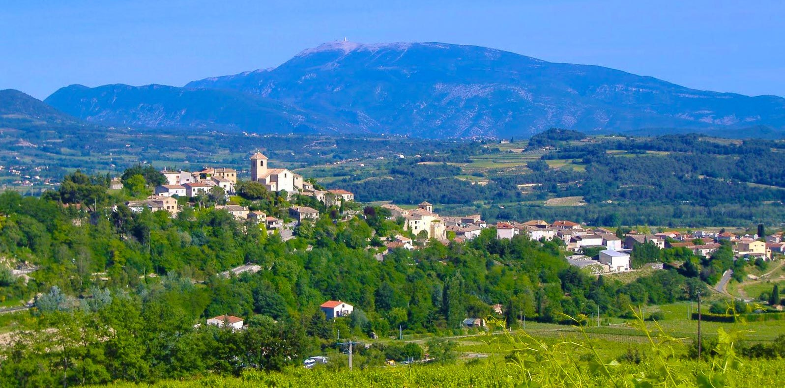 Vinsobres township with Mount Ventoux in the distance